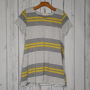 Anthro Puella Yellow Gray Stripe Tunic Top Medium